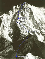 Nanga Parbat Expedition 1970, Rupal Flanke, Weg der Erstbestieger